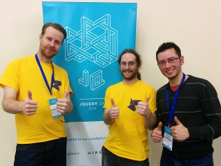 Martin, Pete and Vicente at jQuery UK Oxford